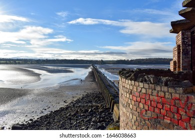 a view to Cramond Beach at low tide in Scotland.