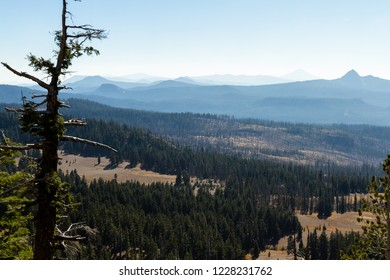 view from Crater Lake national park at a section of forest that burned last year and smoke in the mountains from a recent wildfire near California