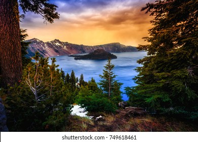 View to Crater Lake, Crater Lake National Park, Oregon