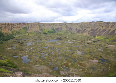 View of Crater lake of Rano Kau, Easter Island, Chile - Shutterstock ID 2000117360