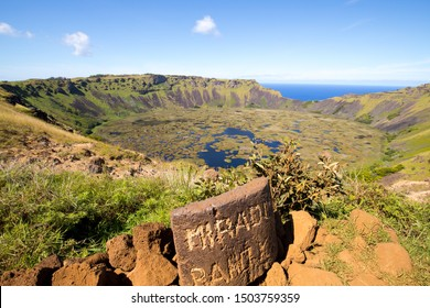 View of the crater of Rano Kau in Easter Island with the sign of the mirador. Easter Island, Chile