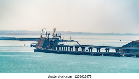 View of the Crimean Bridge with the road part finished and the railway part under construction. The Kerch Strait, Europe