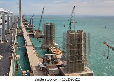View of the Crimean bridge under construction across the Kerch Strait