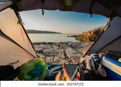 View to Croatia from the tent. Hiking and Tourism
