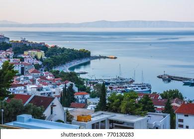 View of Croatian resort Baska Voda at sunrise.