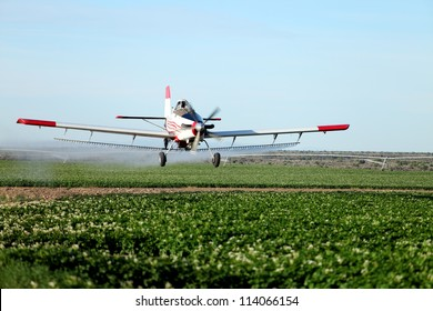 A view of a crop duster spraying green farmland.
