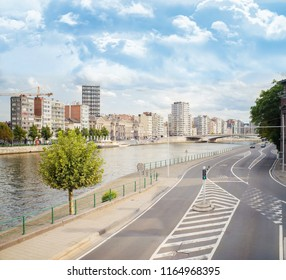 View of a crossroad in Liege, a city on the banks of the Meuse river in Belgium, Europe