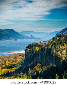 View of Crown Point and the Vista House and the Columbia River Gorge national Scenic Area in the fall season.