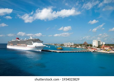 The view of a cruise liner moored in San Miguel resort town on Cozumel island (Mexico).