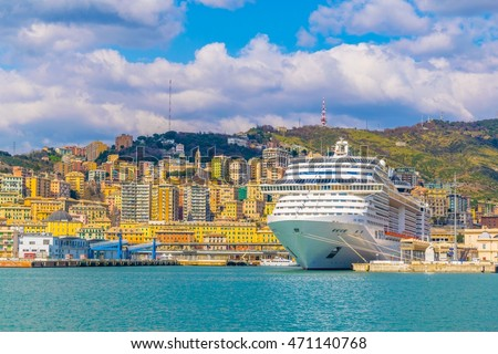 view of a cruise ship anchoring in the port of genoa in italy.