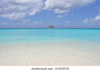 A View of the Cruise Ship from Half Moon Cay Island, Bahamas - Shutterstock ID 571073770