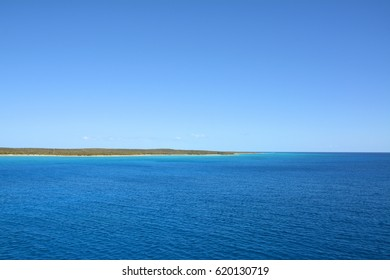 View from cruise ship on Eleuthera island, Bahamas