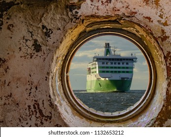 view cruise ship and sea from window