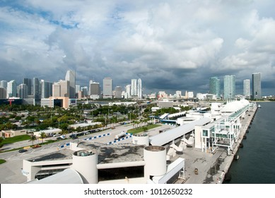 The view of the cruise ship terminal with Miami downtown in a background (Florida).