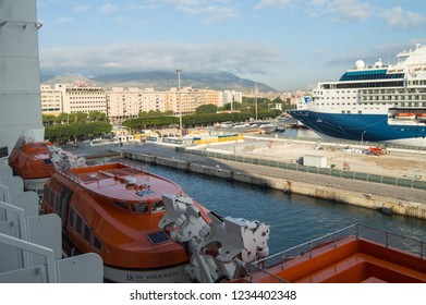 View from the cruise ship to the waterfront, port and pier in the tourist center of Palermo, Sicily, Italy, October 8, 2018