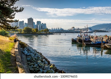 View of cruiseship at Canada Place and boats moured in harbour near CRAB Park at Portside, Vancouver, British Columbia, Canada, North America 12 September 2017