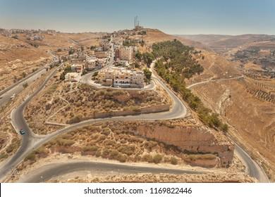 View from crusader castle Kerak  (Al Karak) to town Kerak, Jordan