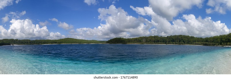 View of the crystal clear waters of Lake McKenzie along Fraser Island in Queensland, Australia.