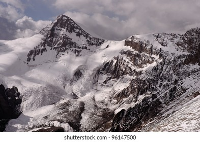 View of the Cuerno Mountain from the West face of Aconcagua mountain. Aconcagua Provincial Park, Mendoza, Argentina, South America.