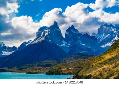 View of Cuernos del Paine Mountain and Lake Pehoe in Torres del Paine National Park in Chile