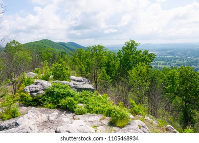 View of the Cumberland Trail from the top of the ridge at Devil's Racetrack.