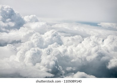 View of cumulus clouds from an airplane