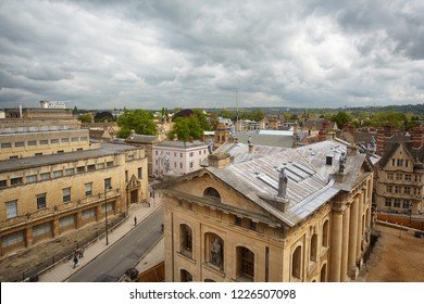 The view from the cupola of Sheldonian Theatre to the roof of Clarendon Building with the nine lead statues of muses on the roof. Oxford University. Oxford. England