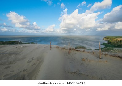 View of the Curonian Lagoon with the quicksand - moving sands on the Curonian Spit National Park in Lithuania- the highest drifting dunes in Europe
