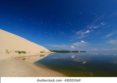 View to curonian spit from the bay, Russia, Zelenogradsk