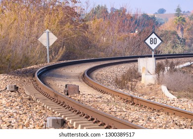 View of curve in the railway with new track with concrete sleeper