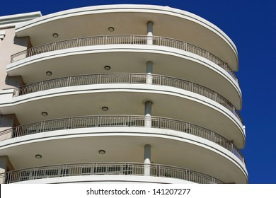 The view of curved balconies on a modern building