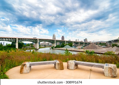View of the Cuyahoga River from Scranton Flats near downtown, between two major highway bridges