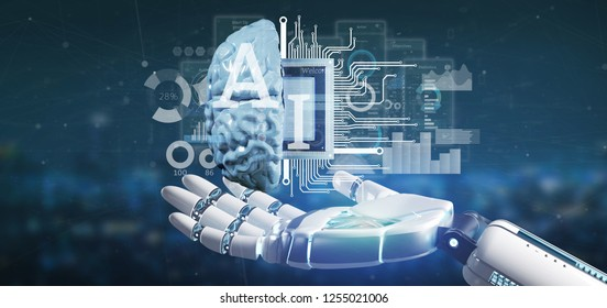 View of Cyborg hand holding artificial intelligence icon with half brain and half circuit 3d rendering