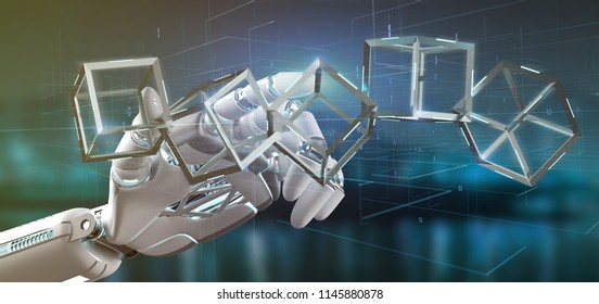 View of a Cyborg hand holding a blockchain cube 3d rendering