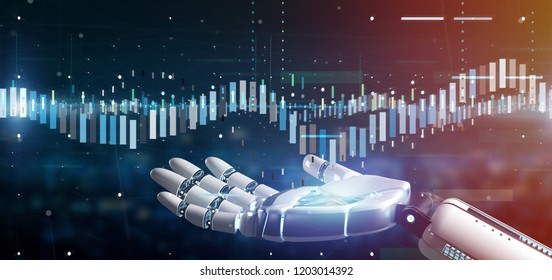 View of a Cyborg hand holding a Business stock exchange trading data information 3d rendering