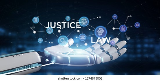 View of Cyborg hand holding Cloud of justice and law icon bubble with data 3d rendering