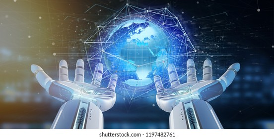 View of a Cyborg hand holding a Connected network over a earth globe concept on a futuristic interface - 3d rendering