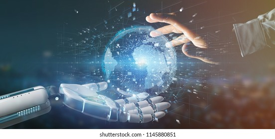 View of a Cyborg hand holding a  Connection around a world globe 3d rendering