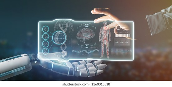 View of a Cyborg hand holding a Futuristic template medical interface hud 3d rendering