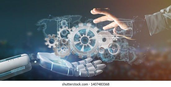 View of a Cyborg hand holding a  gear wheel interface 3d rendering