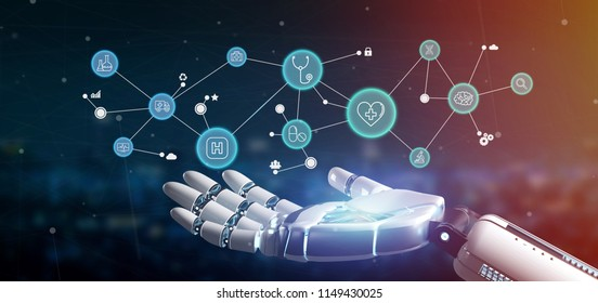 View of a Cyborg hand holding a  Medical icon and connection 3d rendering