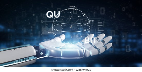 View of Cyborg hand holding Quantum computing concept with qubit icon 3d rendering