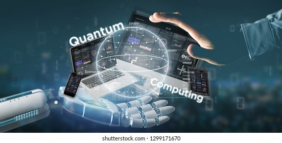 View of Cyborg hand holding Quantum computing concept with qubit and devices 3d rendering