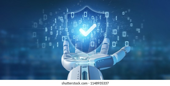 View of a Cyborg hand holding a Shield web security concept 3d rendering