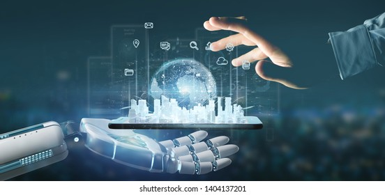 View of Cyborg hand holding Smart city user interface with icon, stats and data 3d rendering