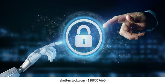 View of a Cyborg hand holding a Technology security icon on a circle 3d rendering