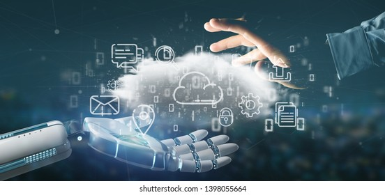 View of a Cyborg holding a Cloud of multimedia icon 3d rendering