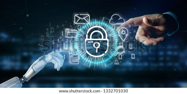 View of a Cyborg holding a Security padlock wheel icon with multimedia and social media icon 3d rendering