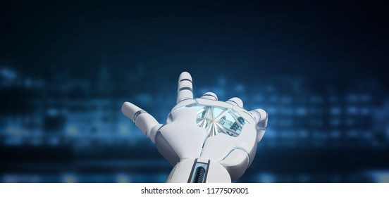 View of a Cyborg robot hand on a city background 3d rendering
