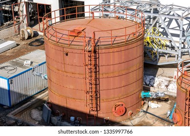 View of the cylindrical fuel storage tank with fixed. In the United States, metal tanks in contact with soil and containing petroleum products must be protected from corrosion.